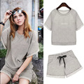 Vancol 2016 Summer Women Tops Gray Fashion Plus Size Suits Bodysuits Tracksuit Bodycon Shorts Suit with Shorts