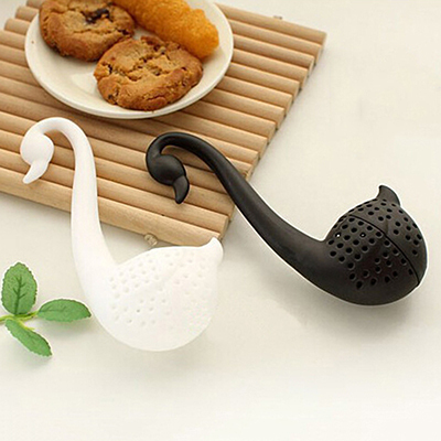 Creative Plastic New Nolvety Gift Swan Spoon Tea Strainer Infuser Teaspoon Filter Tea Tools Kitchen Accessories Black Whaite