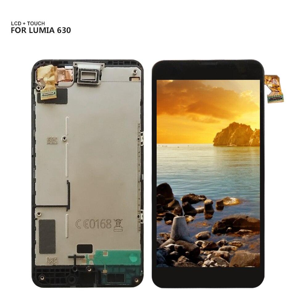 100% Test Pour Nokia Lumia 630 635 Écran Tactile Digitizer capteur En Verre + LCD Écran Du Panneau D'affichage Module Assemblée Avec cadre