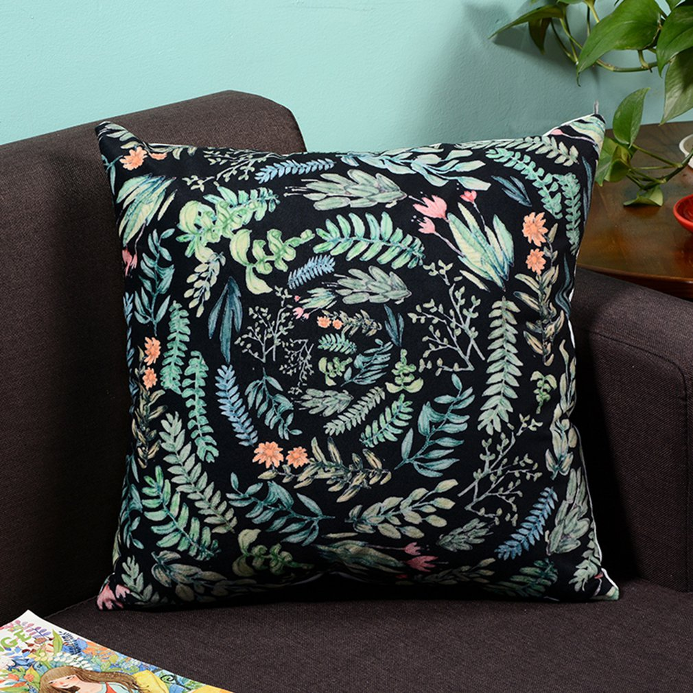 Super soft printing tropical plants 45x45CM black ring plant fresh American style flowers and