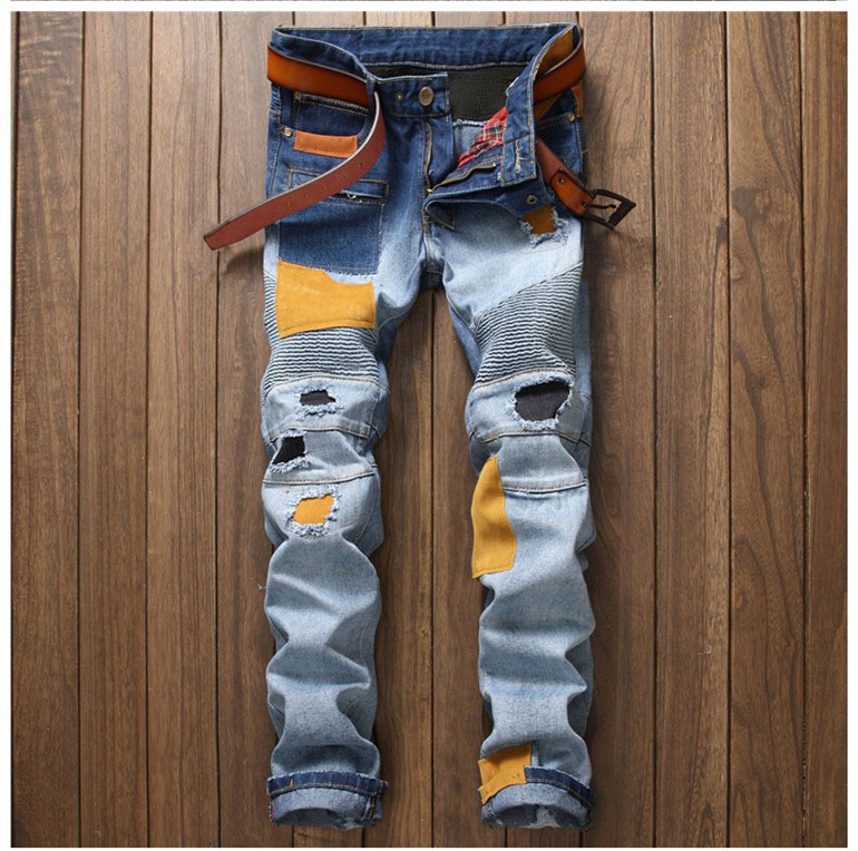 European American Style fashion brand Men's casual denim jeans trousers Slim Straight Patchwork blue Hole jeans pants for men