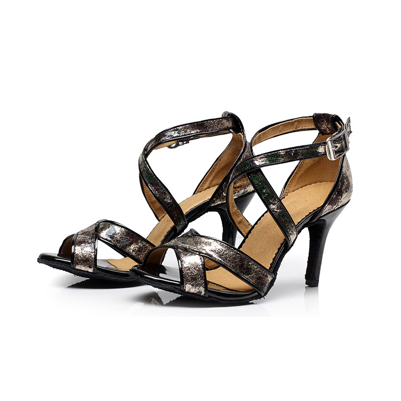 Latin dance shoes adult Black PU Ballroom dancing shoes Salsa customized Heel