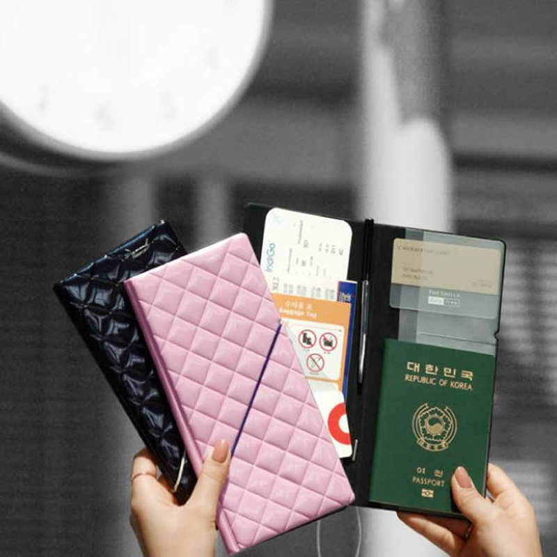 Fashion Diamond Passport Holders Covers Travel Accessories PU Leather ID Bank Card Bag Women Function Passport Business Case