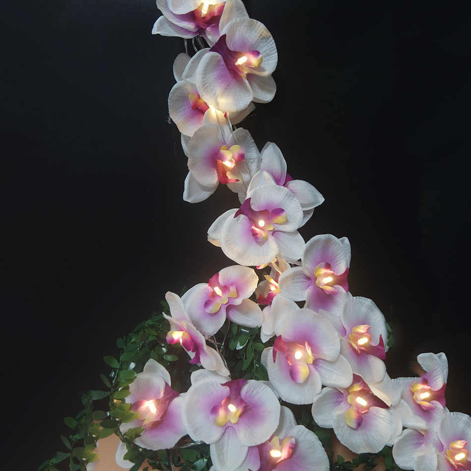 Fashion Orchid Flower light string 4M 20 led,Handmade Butterfly Orchid holiday light power by Battery,Floral DIY home Decoration