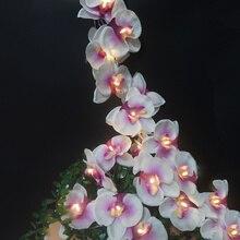 Guirnalda de luces de orquídeas de flores hechas a mano para vacaciones, decoración de Navidad. Luz de fiesta de eventos/Flor de Año Nuevo, suministros de fiesta festiva, decoración del hogar.