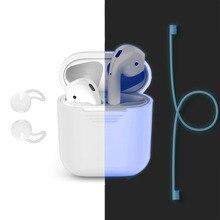 Airpods Caso, Soft Case de Silicone Protetora À Prova de Choque Capa & Alça Anti-lost & Tampa Da Orelha Ganchos para Apple AirPods, Brilho Azul no Escuro