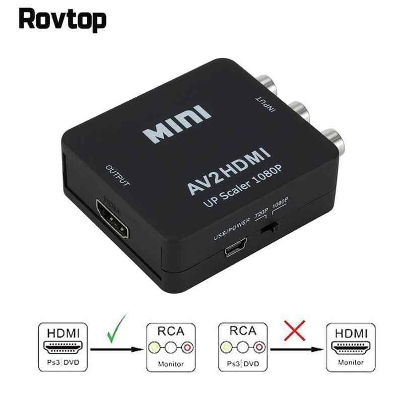 1080p Hdmi Mini Vga إلى Rca Av مركب محول محول مع 3.5 مللي متر الصوت Vga2av / Cvbs زائد الصوت إلى الكمبيوتر Hdtv محول