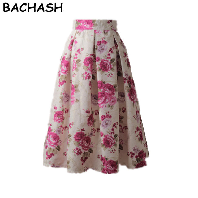 Bachash women fashion pink flower printed pleated midi skirt 2018 bachash women fashion pink flower printed pleated midi skirt 2018 spring summer autumn ladies skater skirts mightylinksfo