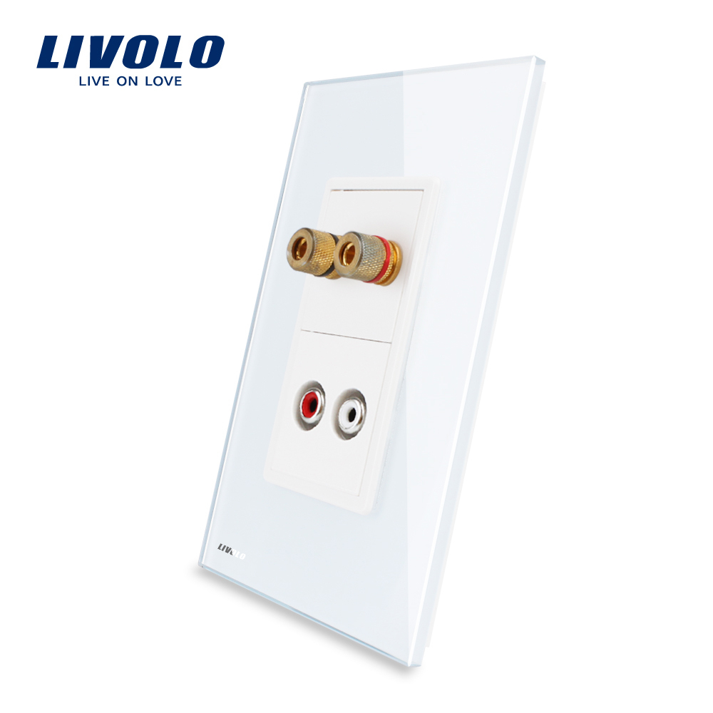 US AU Standard Livolo Luxur Audio And Video Socket With White Pearl Crystal Glass VL C591AAD