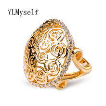 Trendy Large hollow design Ring for women White and Gold color love ring bijoux femme alibaba-express Round Ball Fashion Ring