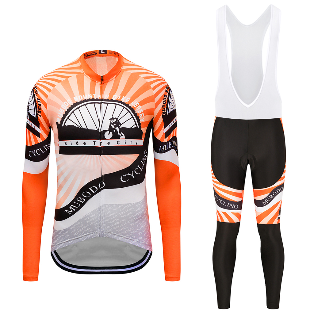 MUBODO Long Sleeve NO Winter Cycling Jersey Bike Cycling Clothing Bicycle Bib Pants Set Quick-Dry Sunscreen riding clothes