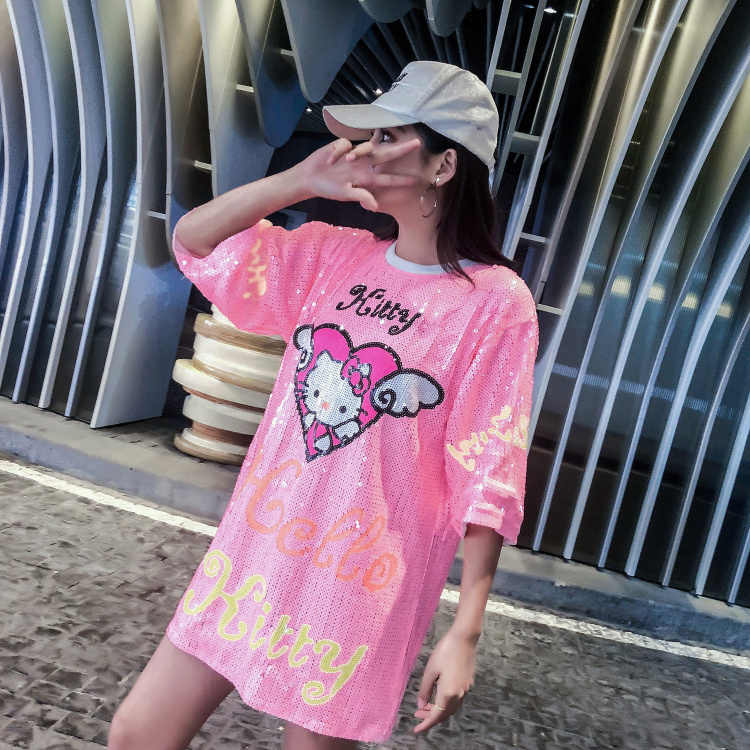 fa6f6a5b84 ... Womans Runway Printed Sequined Long T-shirt Dresses 2019 Newest Women  Cut Cartoon Hello Kitty ...