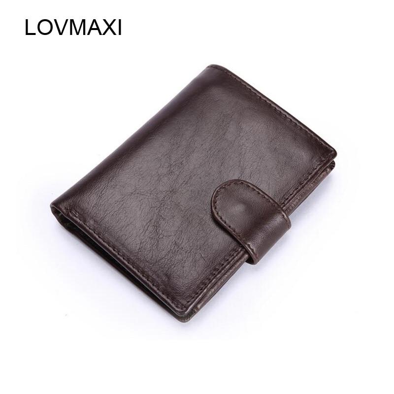 d8aed1e99 LOVMAXI 100% genuínos Homens de couro carteiras de curto carteira ferrolho  Do Vintage masculino causal bolsa de café grande capacidade de bolsas de  negócios