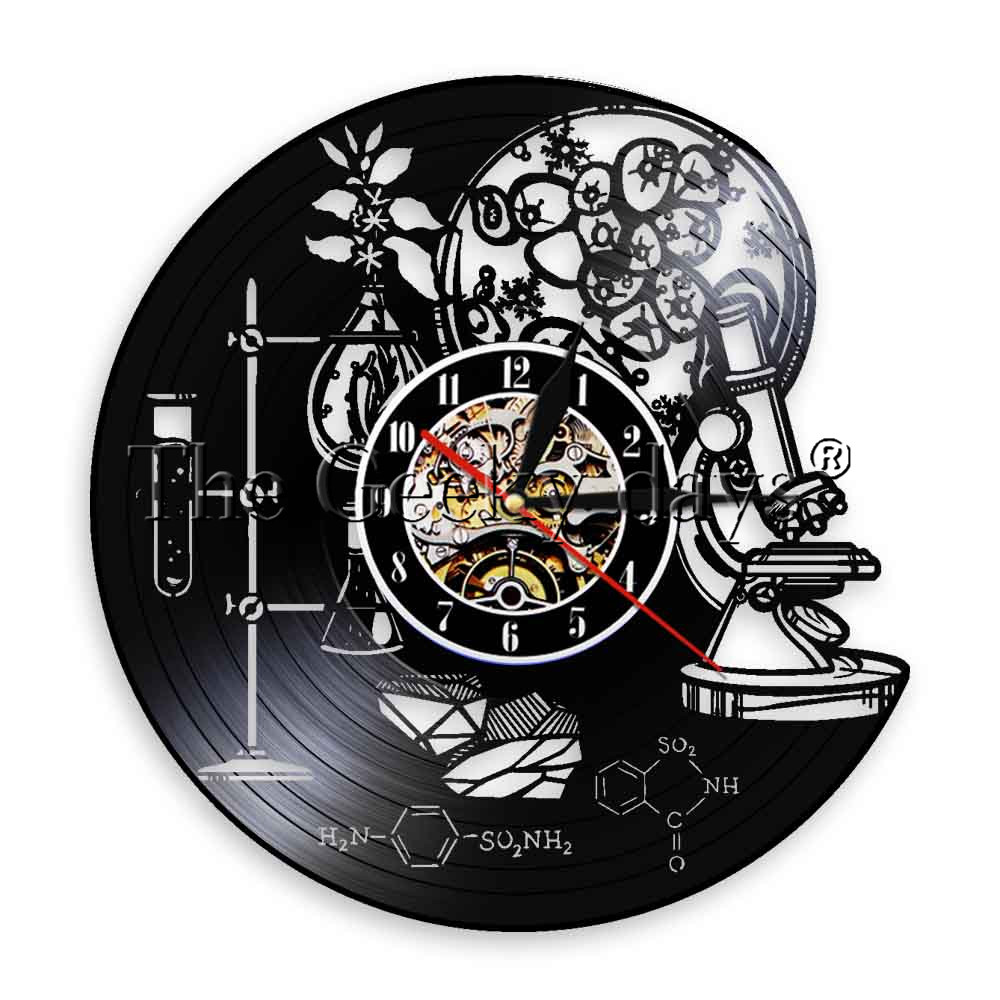 1Piece Biology Science Dopamine Molecule Vinyl Record Wall Clock Tools Of Science Chemistry Lab Wall Clock Watch Scientist Gift