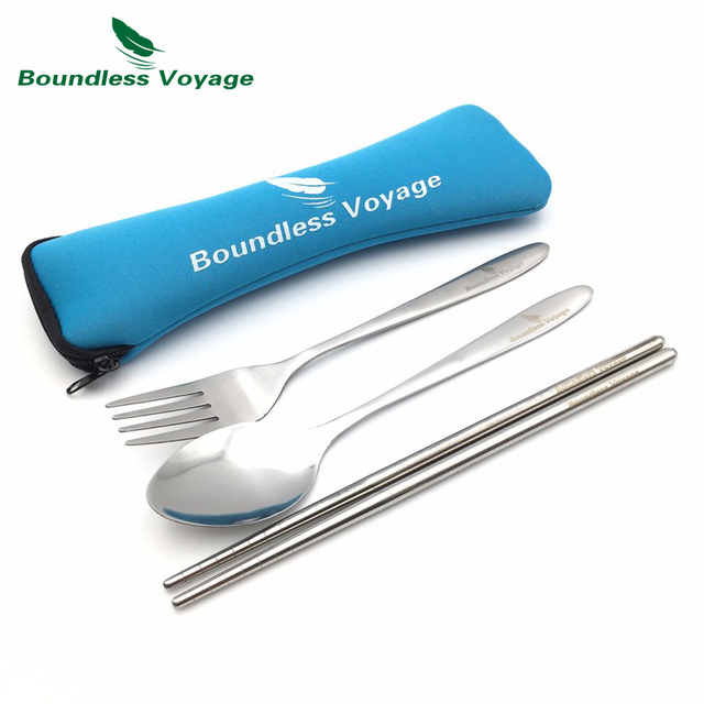 Boundless Voyage 3PCS Stainless Steel Tableware Outdoor Picnic Spoon Fork Chopsticks Travel Cutlery BV1005