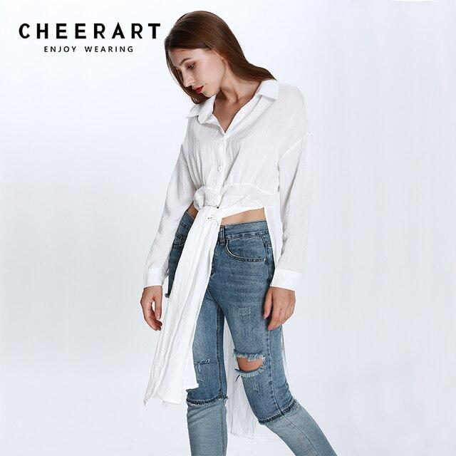 de Cheerart 2018 algodón largo partido lado manga blanco Tops mujeres  Blusas larga blusa camisa otoño 4fqS4n 3908cc1697da5
