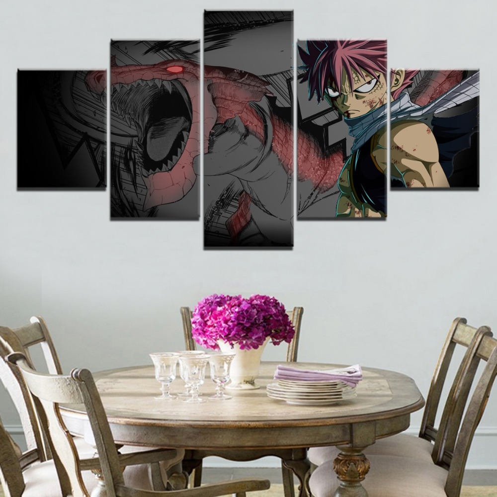 Modern On Canvas Wall Art Picture Home Decoraive Boys Room 5 Pieces Animation Fairy Tail Igneel Natsu Dragneel Unique Painting in Painting Calligraphy from Home Garden