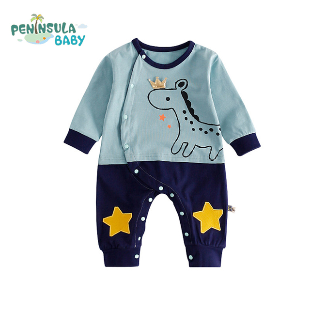 3a33639e127a Autumn Cartoon Animals Patchwork Baby Romper Clothing Infant Baby ...
