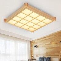 Деревянный светодиодный потолочный светильник творческая гостиная Спальня улучшенный прямоугольные клетчатый отель офис Освещение свето