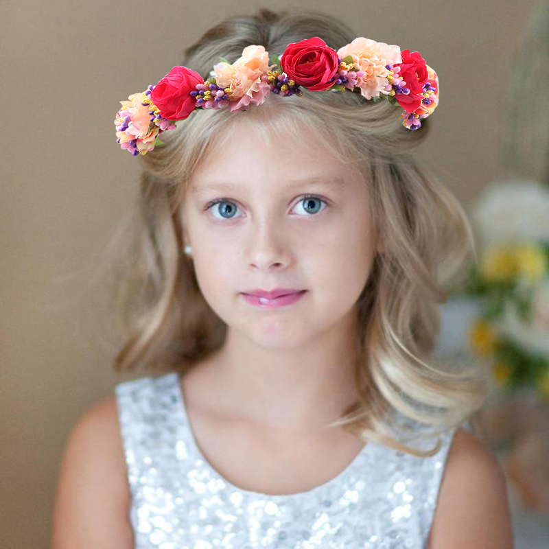 Handmade Wildflower withe ribbon Headband flower crown for bridesmaid Garland Floral Crown bride headband hair Accessories in Hair Accessories from Mother Kids
