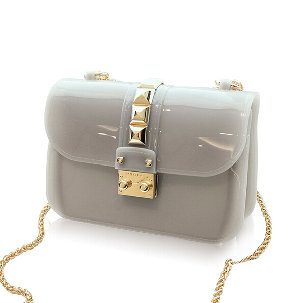 ФОТО Brands Designer Clear Candy Jelly Bag 2017 Women Messenger Bags Summer Beach Mini Chain Crossbody Rivet Transparent Handbags