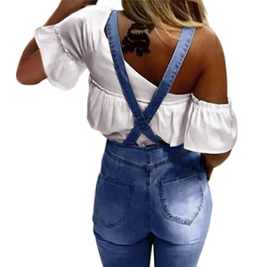 Image 5 - Primavera Verano pantalones vaqueros de pierna ancha Mono para mujer elegante femenino cintura alta campana inferior Jeans monos de talla grande