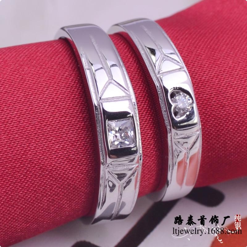 LTR195 925 sterling silver zircon wedding rings couple rings