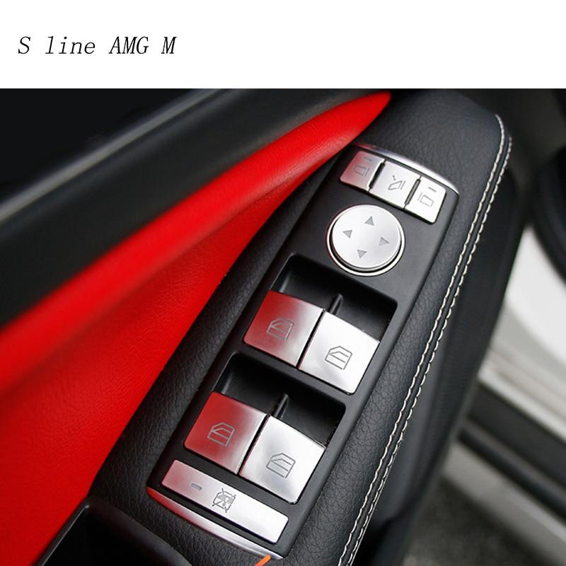 Car Styling For Mercedes Benz C E Class W204 W212 Auto Window Lifter Control Frame Switch Decor Armrest Panel Trim Sticker Cover for bmw x5 e70 x6 e71 carbon fiber window lifter control frame window switch decor armrest panel trim car interior accessories