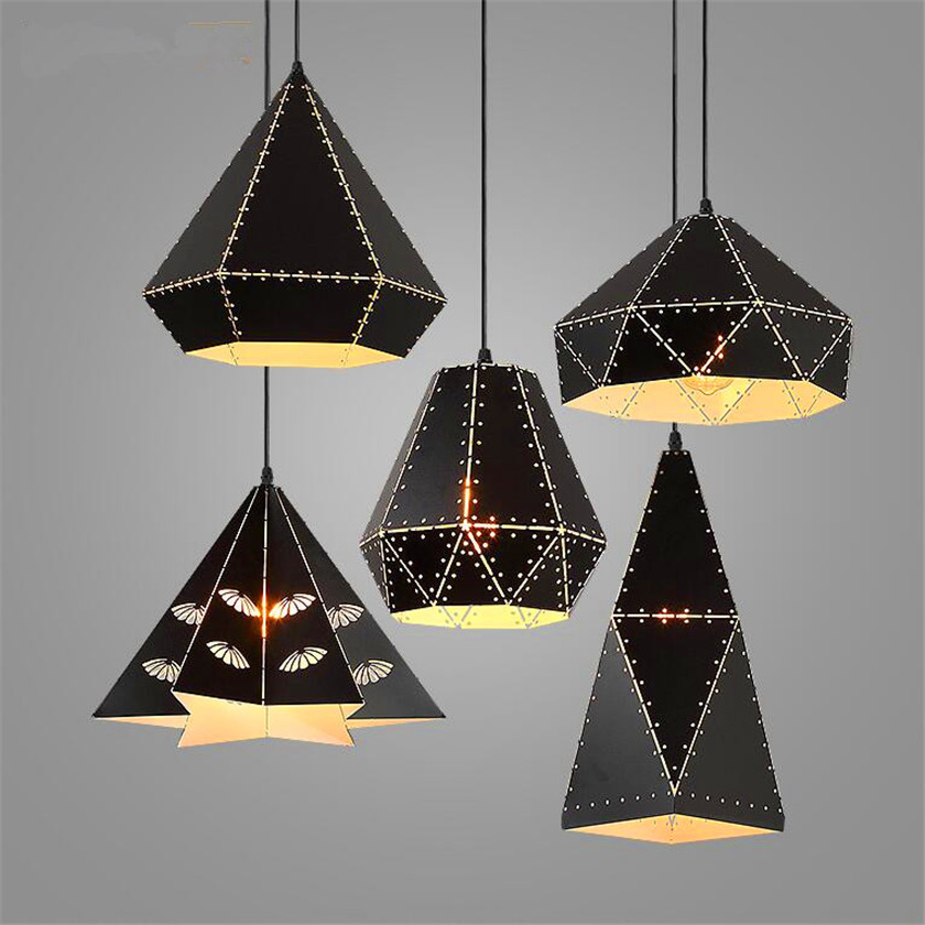 Nordic carved Iron led Pendant Light E27 Retro Loft Lamps for Bar hollow out iron Industrial Pendant Lamp Hanging Light Fixtures nordic retro loft led pendant light vintage hemp rope lamp industrial glass iron hanging home fixtures for bar restaurant cafe