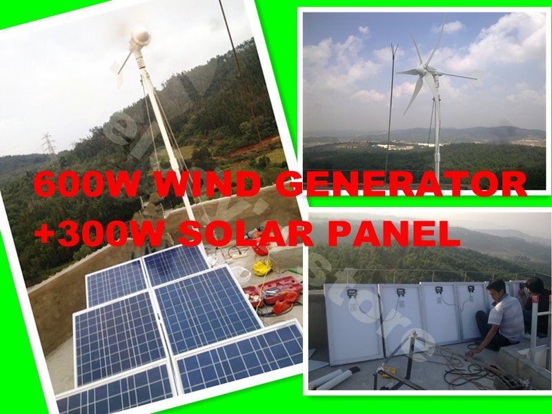 off grid forest controlling system build with 600w wind turbines generator +300w solar panel +controller deliver by DHL free maylar new 300w wind turbines wind driven generator for wind system 6 blades ce certificate 90 260vac