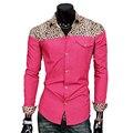 Mens moda Jeans Camisas Leopard Splice Magro Calça Jeans de Algodão Dos Homens Casuais Camisas de Manga Longa de Alta Qualidade Camisas Hombre 2016