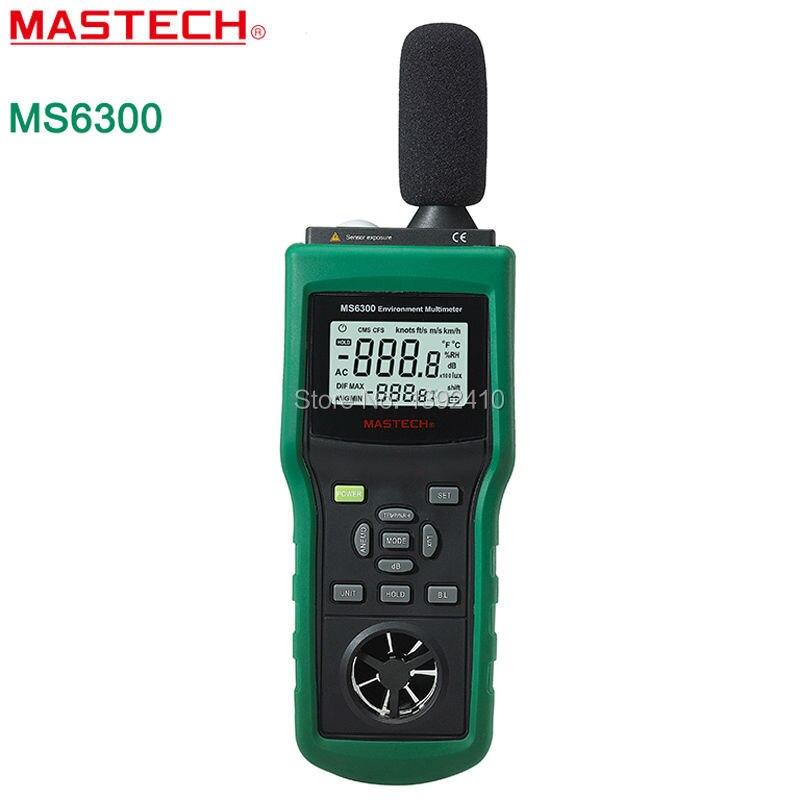 MASTECH MS6300 Environment Meter tester temperature Temperature Humidity Sound Air Flow Tester luminometer Anemometer  цены