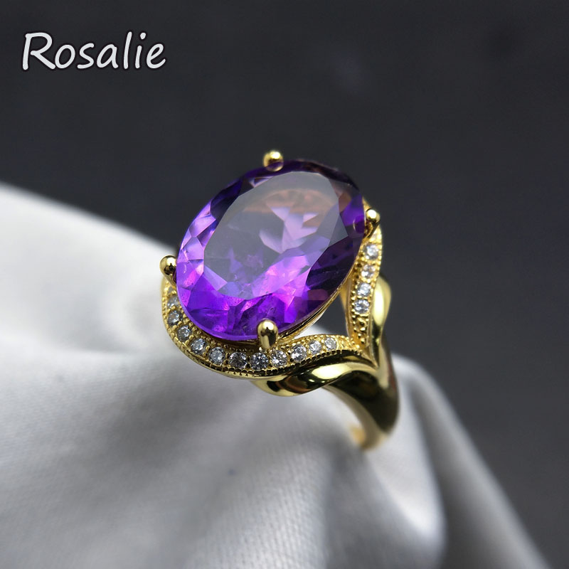 Rosalie,100% Natural African good luster amethyst big gemstone Ring in 925 sterling silver yellow gold for women daily wear gift