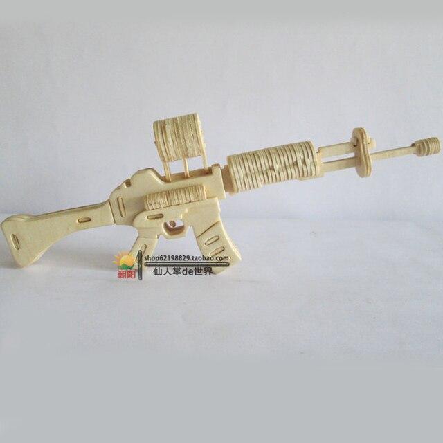 Карабин Дерево Головоломки игрушки модель 3 d головоломки ручной работы собраны деревянные головоломки игрушки подарок