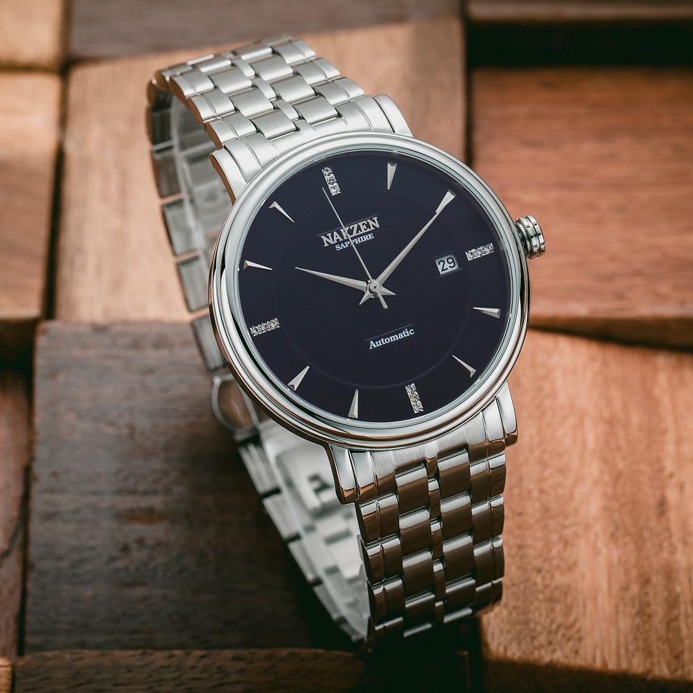 NAKZEN Männer Business armbanduhr Marke Luxus Diamant Automatische Mechanische Uhren Männlichen Uhr Relogio Masculino Miyota 9015-in Mechanische Uhren aus Uhren bei  Gruppe 2