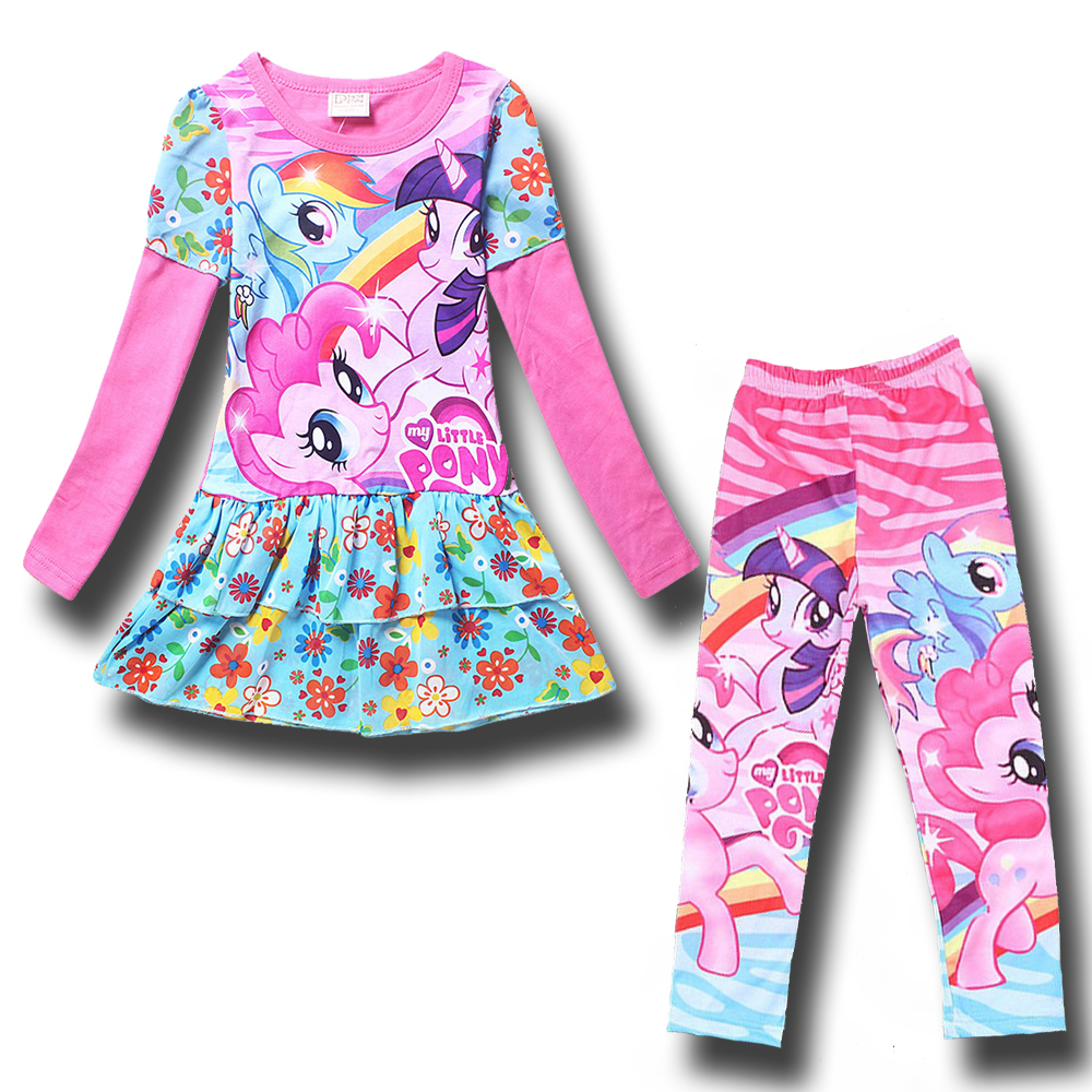 Summer Set 2017 My Girls Little Pony Clothing Sets Long Sleeve T Shirt + Legging Costume for Kids Tight Girl Pants Child Clothes