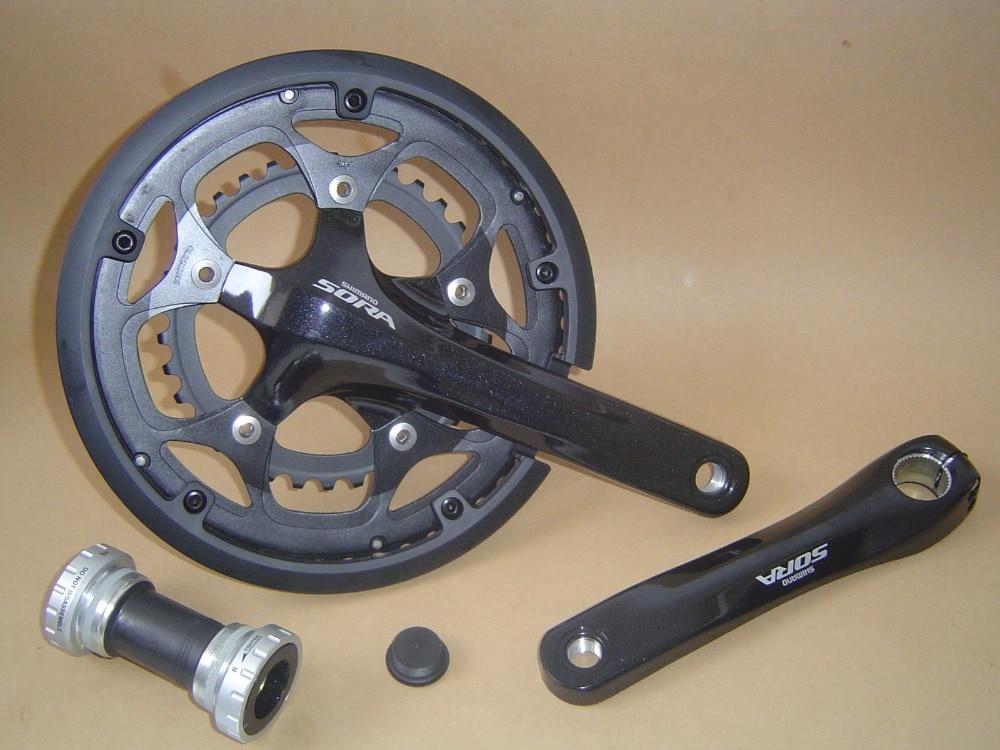 New Shimano Sora FC-3550 170mm Double Compact Crank Crankset Black 50/34T with BB shimano sora fc 3503 3x9 speed road bike bicyclecrankset 50 39 30t with bb