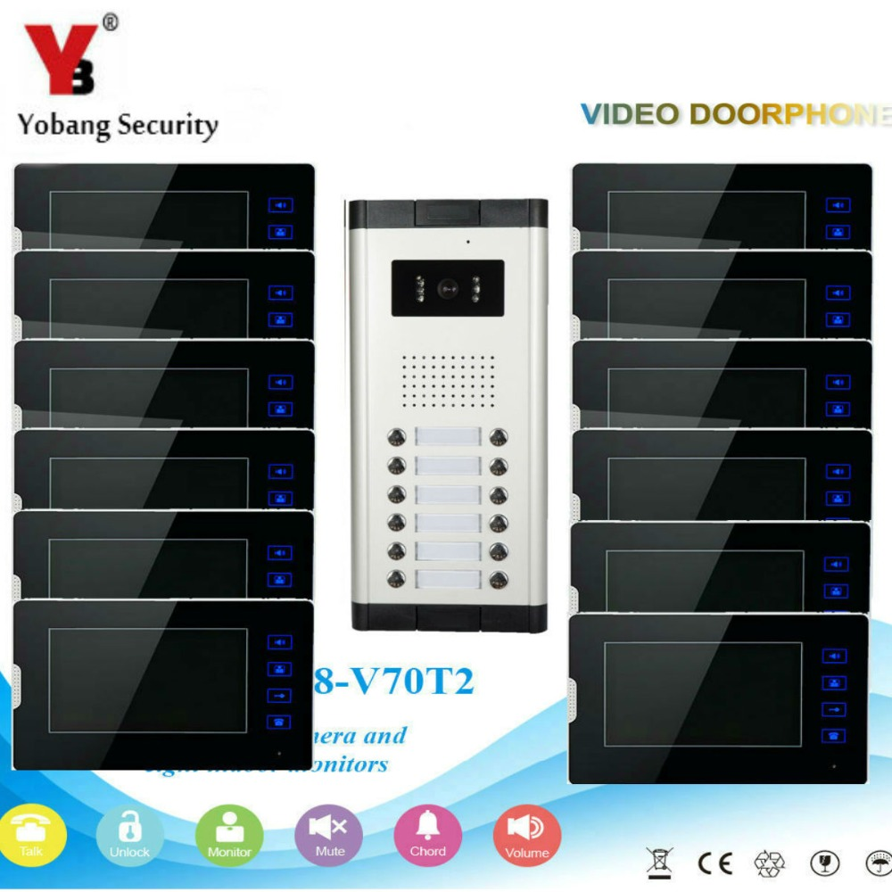 YobangSecurity 1-Camera 12-Monitor 7 Video Door Phone Video Intercom Home Doorbell System Night Vision 2-way Access Control diysecur 7inch video door phone doorbell video intercom metal shell camera led night vision 1 monitor black for home office