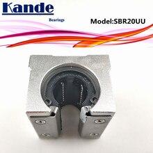 Kande מסבים 4pcs SBR20UU SBR20 UU SBR20 פתוח Bearing בלוק CNC חלקי שקופיות עבור 20mm ינארית מדריך SBR20 20mm SME20UU SME SBR