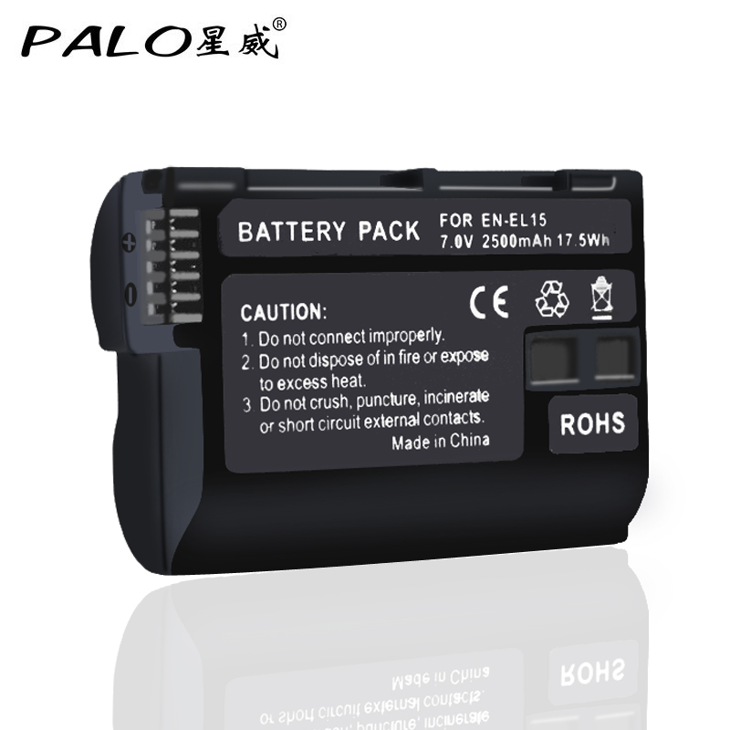 EN-EL15 ENEL15 EL15 Full Decoded 2500mAh Battery for Nikon D500,D600,D610,D750,D7000,D7100,D7200,D800,D850,D810,D810A&1 V1 kingma en el15 full decoded 1700mah battery for nikon d7000 1v1 d800 d800e d600 d7100