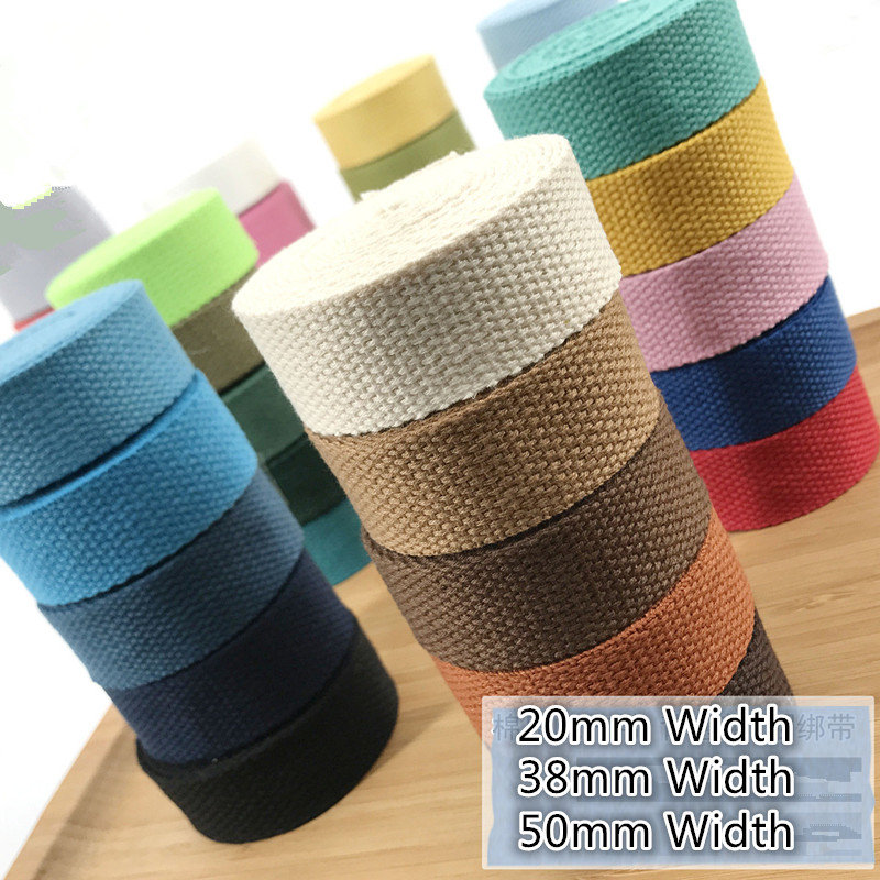 20MM Width Thick Plain Color Polyester Cotton Canvas Webbing Ribbon Bag Belt Strap Garments Crafts Accessories