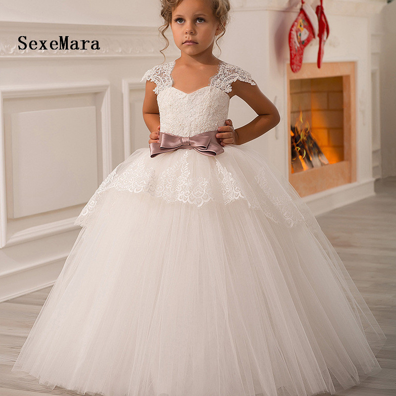 Lovely Flower Girls Dresses For Weddings Puffy Tulle Floor Length Ball Gown Junior Dresses For Wedding Real Picture Size 2-14Y