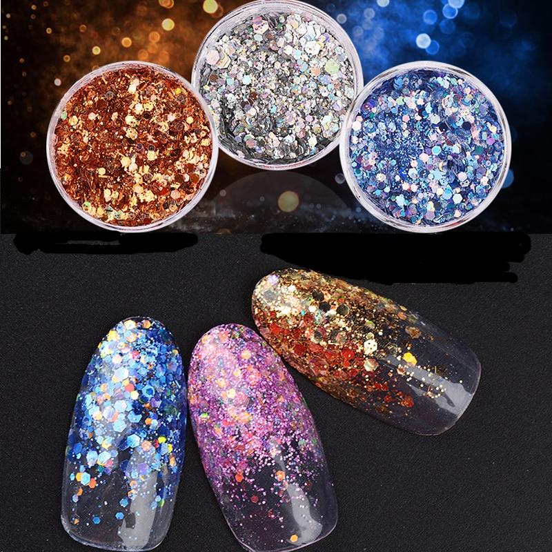 1x Pot 2g Bling Glitter Powder Dust Nail Art <font><b>Sequin</b></font> 3D Rainbow Clear Hexagon Slice DIY Charm Nail Art Decor Manicure HHF