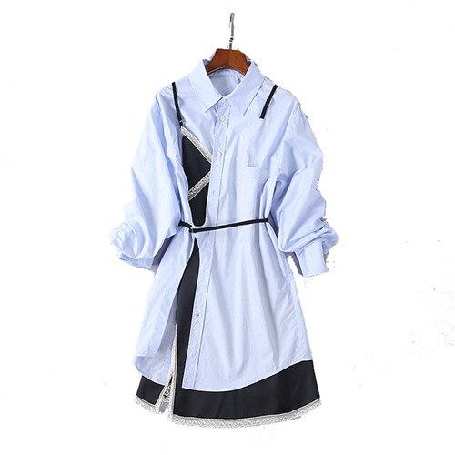 Patchwork Usine Basant Directe 2018 Noir Femmes D'été Robes Rabattu Casual Col Multi Coton Bleu Vêtements Robe tdhCsoQxBr