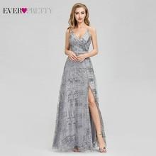 Bridesmaid Dresses Wedding-Guest Grey Ever-Pretty Elegant V-Neck Sequin A-Line Spaghetti-Straps