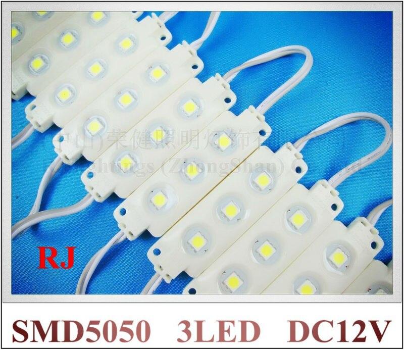 Впрыска светодиодный модуль водонепроницаемый SMD 5050 DC12V 0.72 Вт 3 LED используется для освещения коробки PMMA знак буквы блистерной слова и другие
