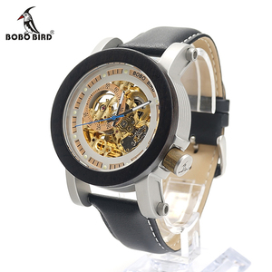 Image 3 - BOBO BIRD Mens Wooden Watch Mechanical Watch Mens Top Luxury Brand with Real Leather Strap in Gift Box relojes hombre