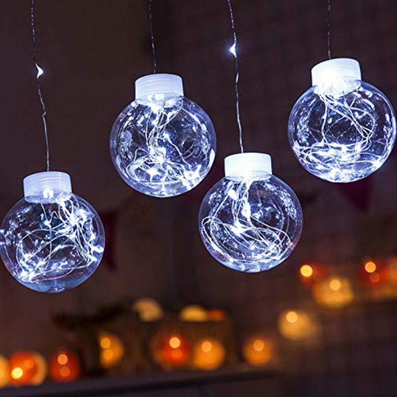 JSEX LED boule éclairage chaîne Cutains lumières cuivre fil lampe vacances éclairage fée lumières imperméable à l'eau christmasgarlanddécoration