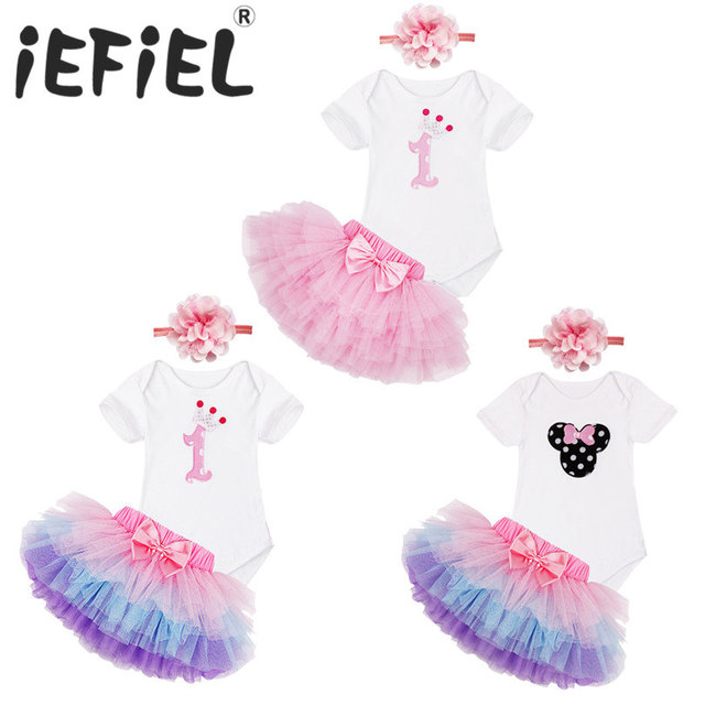 Pink Purple Newborn Toddler Infant Baby Girls 1st First Birthday Romper  with Tutu Skirt Outfit Top T Shirt Cake Kids sets dress 04a26bd6b862