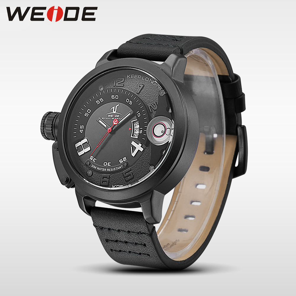 WEIDE watches brand luxury men quartz sports wrist watch genuine water resistant electronics analog leather Watchband man clock 2018 new luxury brand weide men watches men s quartz hour clock analog digital led watch pu strap fashion man sports wrist watch